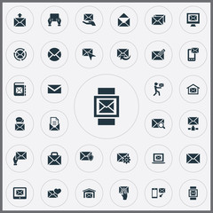 Vector Illustration Set Of Simple Communication Icons. Elements Sent, Correspondence, Renewed And Other Synonyms Flow, Web And Correspondence.