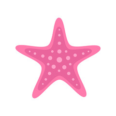 Pink starfish marine animal. Vector illustration drawing. Isolated on white background.