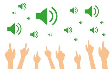 Hände zeigen auf Lautsprecher