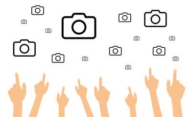 Hände zeigen auf Kameras