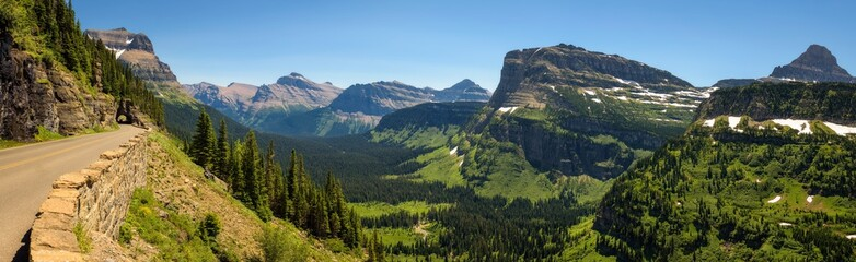 Going to the Sun Road with panoramic view of Glacier National Park, Montana