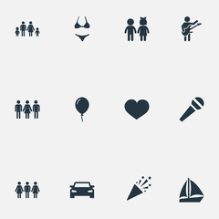 Vector Illustration Set Of Simple Celebration Icons. Elements Mike, Automobile, Yacht And Other Synonyms Musician, Confetti And Guests.