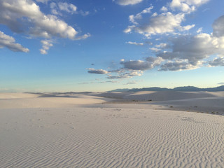 White Sands Desert with Cloud pads in the Sky in New Mexico