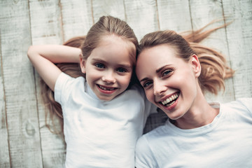 Mom with daughter at home