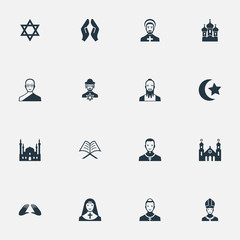 Vector Illustration Set Of Simple Religion Icons. Elements David Star, Chapel, Cleric And Other Synonyms David, Star And Pastor.