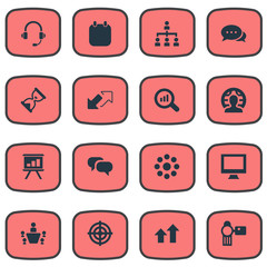 Vector Illustration Set Of Simple Seminar Icons. Elements Goal, Headset, Conversation And Other Synonyms Structure, Magnifier And Up.