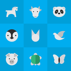 Vector Illustration Set Of Simple Zoo Icons. Elements Piggy, Bear, Kine And Other Synonyms Piggy, Animal And Butterfly.