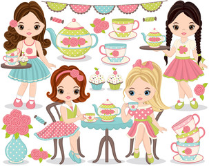 Vector Tea Party Set with Cute Little Girls Having Tea