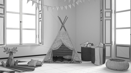 Unfinished project of child room with furniture, carpet and tent, two panoramic windows, scandinavian interior design
