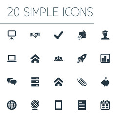 Vector Illustration Set Of Simple Startup Icons. Elements Gadget, Company, Specialist And Other Synonyms Saving, Task And Report.