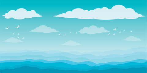 Printed roller blinds Light blue Graphic sea and clouds, bird in the sky, sky, sea, scene, beautiful, background, water, nature, pattern, Blue waves sea ocean abstract pattern background colorful vector illustration