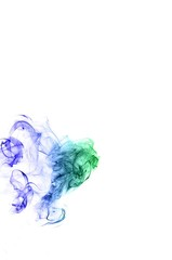 Abstract background wave of smoke.Blue and green wave