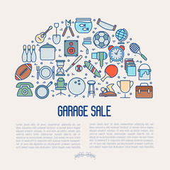 Garage sale or flea market concept in half circle with place for text. Thin line vector illustration for banner, web page, print media.
