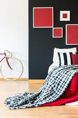 Simple bedroom of biker