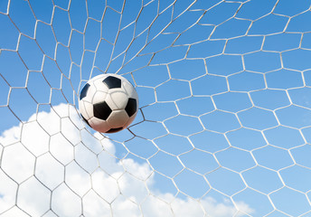 Soccer football in Goal net with the sky field.