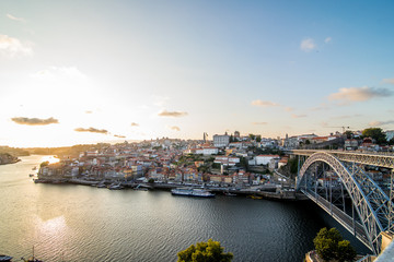 Porto, Portugal - July 2017. Panorama of the city of Porto and the river of Douro at sunset. Portugal. Porto popular tourist destination of Europe