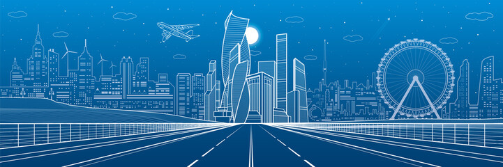 Wide highway. Urban infrastructure illustration panorama, futuristic city on background, modern architecture. Airplane fly. White lines on blue background, night scene, vector design art