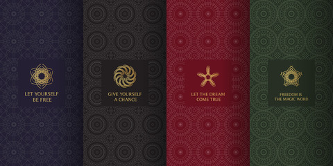 Collection of dark backgrounds and golden elements. Set of labels, icons, logos and patterns in arabic, muslim, islamic, oriental, eastern style.Templates with luxury foil for packaging
