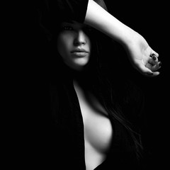 Foto op Canvas Akt erotic beautiful woman in dark