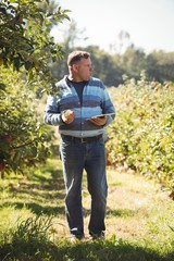 Farmer holding digital tablet while eating apple in apple