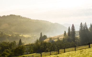 Beautiful mountain village in ukrainian carpathian mountains at dawn in summer. Rural area landscape with rich colorful summer or autumn nature early in the morning