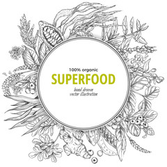 Superfood round banner, sketch vector