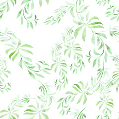 Branches with leaves - a decorative composition. Watercolor. Seamless pattern. Use printed materials, signs, items, websites, maps, posters, postcards, packaging.