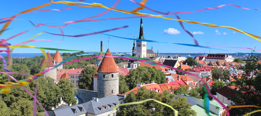 View of the old town of Tallinn (Europe) from the observation deck / Festival