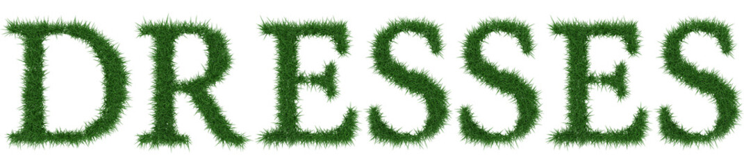 Dresses - 3D rendering fresh Grass letters isolated on whhite background.