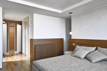 interiors view of a modern bedroom