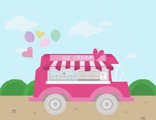 Ice cream bus Vector illustration. flat style