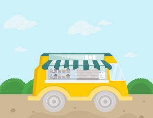 Bakery bus Vector illustration. fresh cupcakes and pastry goods