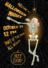 Halloween vertical background with skeletons dancing DAB. Flyer or invitation template for Halloween party and night. Handwritten calligraphy words greetings, dance of the dead all night. Vector.