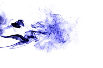 Abstract blue smoke on white background, blue background,blue ink background