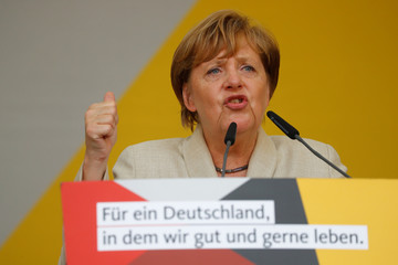 German Chancellor Angela Merkel, a top candidate of the Christian Democratic Union Party (CDU) for the upcoming general elections, attends an election rally in Ludwigshafen