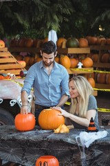 Couple preparing halloween