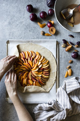 French Galette pie with fresh plums, nectarines and peaches.