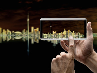 Beautiful Toronto Cityscape with Water Reflection