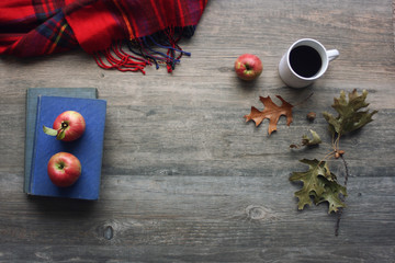 Autumn season still life with red apples, books, red plaid blanket, black coffee cup and fall leaves over rustic wooden background. Knolling concept.