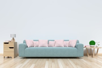 Room bright interior with sofa . 3D rendering