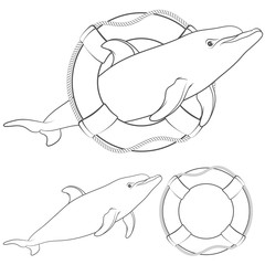 Set of black and white illustrations with a dolphin and a life buoy. Isolated objects on white background.