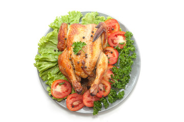 grilled chicken on plate decoration with vegetable