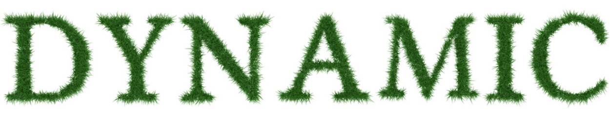 Dynamic - 3D rendering fresh Grass letters isolated on whhite background.