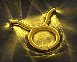 Sign of the zodiac in gold with caustics - Taurus