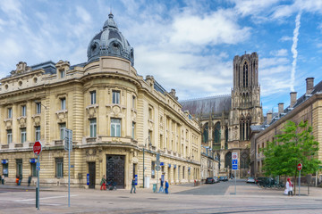 Architecture of Reims, a city in the Champagne-Ardenne region of France.