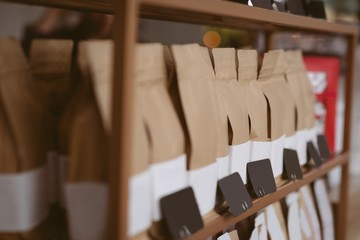 Packaged coffee bags in cafe