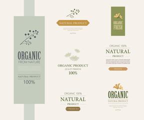 set of natural label and organic label green color. vintage element design.