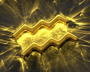 Sign of the zodiac in gold with caustics - Aquarius
