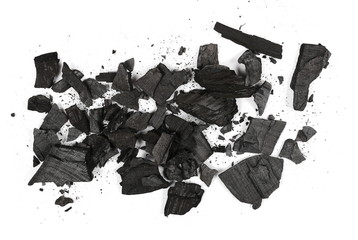 Pile charcoal isolated on white background, xylanthrax, wood coal, top view