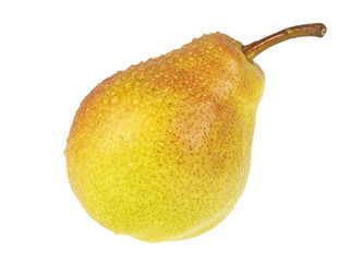 Yellow pear with water drops isolated on a white background